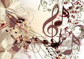 foto of clefs  - Creative music background with notes for design - JPG
