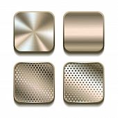 stock photo of copper  - Apps metal icon set - JPG