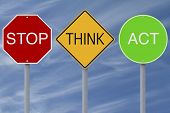 stock photo of modifier  - Modified colorful road signs with a safety message - JPG