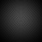 stock photo of grill  - Technology background with seamless circle perforated carbon speaker grill texture for internet sites - JPG