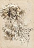 foto of indian chief  - Indian chief holding a peace pipe - JPG