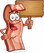 Bacon Cartoon Character Holding a Wooden Sign
