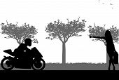 Beautiful woman hitchhiking motorbike silhouette