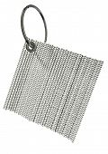image of zulu  - A generic white square zulu beaded key ring with a metal hoop on an isolated background - JPG