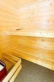 foto of swedish sauna  - Classic Sweden style wooden sauna cabin in home - JPG