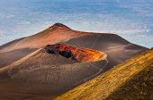 stock photo of magma  - Colorful crater of Etna volcano with Catania in background Sicily Italy