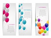 image of helium  - Color Glossy Balloons Card Background Vector Illustration - JPG