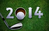 stock photo of grass  - Happy New Golf year 2014 Golf ball and putter on green grass the same concept available for 2015 2016 and 2017 year - JPG