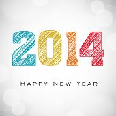 Happy New Year 2014 celebrations flyer, banner, poster or invitation with colorful text on shiny gre
