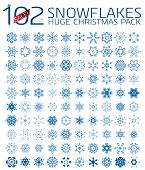 102 abstract Christmas snowflakes. Huge icon set isolated on white