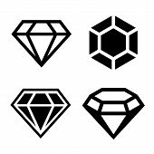stock photo of jewelry  - Diamond vector icons set - JPG