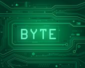 stock photo of byte  - Abstract style illustration depicting printed circuit board components with a byte concept - JPG