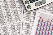 stock photo of depreciation  - a calculator is on a balance sheet figures are statistics - JPG