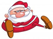 stock photo of annoyance  - Upset Santa Claus sitting on the floor with crossed arms - JPG