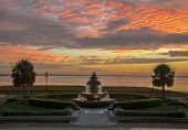 picture of garden sculpture  - A wide angle view of Waterfrtont Park in historic downtown Charleston, South Carolina