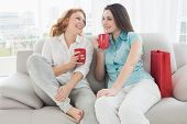 pic of slumber party  - Two happy young female friends with coffee cups conversing in the living room at home - JPG