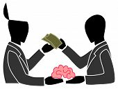 Постер, плакат: A Person Is Selling His Own Brain To Another Person