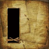 Old Scarred Photoframe On The Abstract Background With Historical Manuscript poster