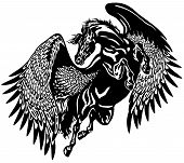 picture of pegasus  - flying pegasus black and white tattoo illustration - JPG