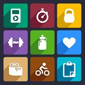 Fitness flat icons set