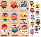 picture of no clothes  - Set of cartoon characters representing different sports - JPG
