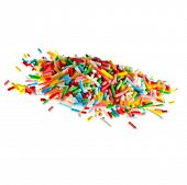 Colorful candy sprinkles pile hill solated on white background