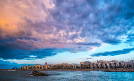 stock photo of mola  - Cloudy landscape over Mola di Bari south of Italy
