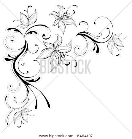 Flower poster id6464107 drawing of black flower pattern in a white background poster id 6464107 mightylinksfo