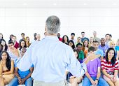stock photo of training room  - Large group of Students in lecture room - JPG