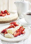 picture of cheesecake  - Piece of Cheesecake With Strawberry on plate - JPG