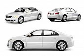 picture of three-dimensional  - Three Dimensional Image of a White Car - JPG