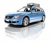 stock photo of three-dimensional  - Three Dimensional Image of a Blue Car - JPG