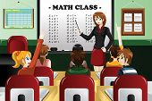 picture of math  - A vector illustration of kids studying math in classroom with teacher - JPG