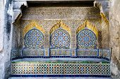 stock photo of nouns  - Tiled and carved alcove in Casbah - JPG