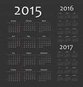 picture of leaping  - Set of black european 2015 2016 2017 year vector calendars - JPG