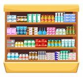 stock photo of enema  - Preview shelves with drugs at a pharmacy or health care facility - JPG