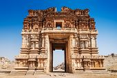 stock photo of hindu temple  - Vijayanagara hindu temple and ruins Hampi India - JPG
