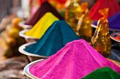 stock photo of holi  - Color powder on the indian market India - JPG