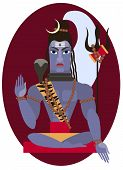 pic of hindu  - vector illustration of Hindu deity lord Shiva - JPG