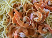 foto of souse  - Spaghetti with shrimp and red souse  - JPG