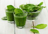 foto of smoothies  - Healthy green smoothie with spinach - JPG