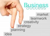 pic of upstairs  - Business success concept fingers go upstairs on white background - JPG