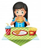 picture of starving  - Illustration of a hungry girl eating at a fastfood restaurant on a white background - JPG