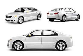 stock photo of three dimensional shape  - Three Dimensional Image of a White Car - JPG