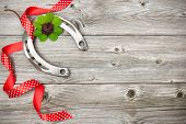 foto of red clover  - Holidays background with horseshoe - JPG