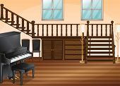 stock photo of upstairs  - Illustration of a piano in a living room - JPG