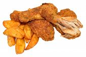 image of southern  - Spicy Southern fried chicken drumsticks and potato wedges - JPG