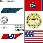 foto of memphis tennessee  - Vector set of Tennessee state with flag and icons on white background - JPG