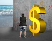 stock photo of shackles  - businessman being shackled with gold dollar on doodles wall and sea background - JPG