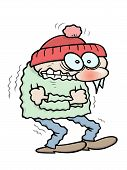 stock photo of shivering  - a shivering winter toon guy with icicles hanging from his nose - JPG